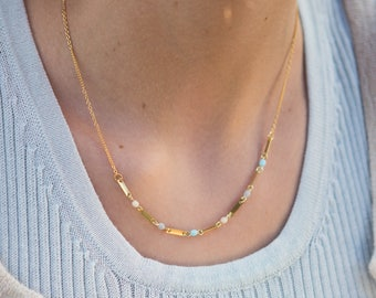 tiny chain necklace, pastel blue and gold necklace, minimalist necklace, small necklace, tiny bar necklace, pastel necklace