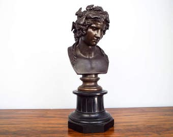 Antique 19th C French Bronze Bacchus Bust Sculpture F Barbedienne Alex Collas, Neoclassical Home Decor Decoration Ideas