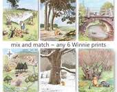 Winnie the Pooh Print (Boys Room Decor, Girls Nursery Wall Art) Mix and Match, Set of 6 SALE