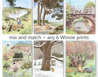 Winnie the Pooh Print (Boys Room Decor, Girls Nursery Wall Art) Mix and Match, Set of 6