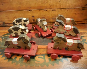 Vintage Wooden Hand Made Pull Toys