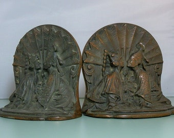 Vintage Art Deco Era Bronze Bookends Siam Kissing Couple Design Over 5 lbs DanPickedMinerals