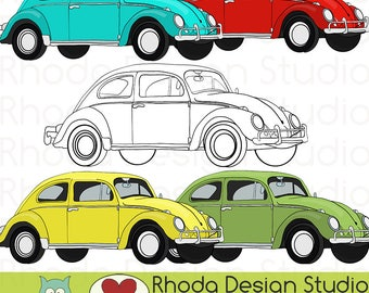 Volkswagon Bug or Beetle Car Retro Stamp Digital Clip Art