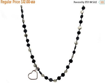 10% off Holiday SALE Tibetan Style Black/Silver Coin Knotted Chain With Silver Toned Heart Charm and Brass Extension (S12B3-05)