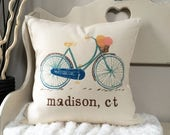 """SALE 18"""" Vintage Bicycle Pillow - Vintage Bike - City and State Pillow - Guest Room Decor - Retro Bike Cushion - Bike with Flower Basket"""