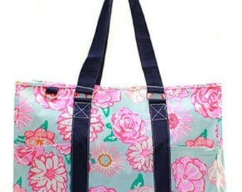 Monogrammed Large Floral Utility Tote Bag-Beach Tote -Teacher Tote -Pool bag -Beach Bag-Sports Utility tote -Navy or Pink