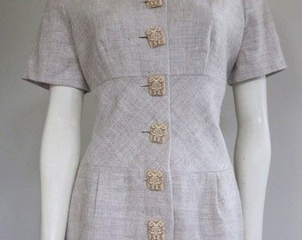 Safari Dress / 80s Dress / 80s Does 40s / New Old Stock / New Dress / Linen Dress / Khaki Dress / Aztec / Aztec Button Up / Tribal Dress