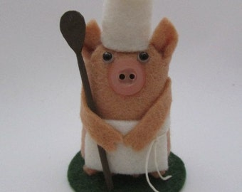 Carlos the Chef Pig - Pig Gift - Cooking Pig Cake Topper