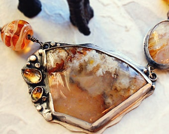 Silver Regency Rose Plume Agate and Citrine Necklace