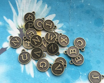 30pcs 12.5mm assorted antiqued bronze alphebet letters charms