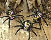 Set of 3 - Handmade Purple and Bright Green Glitter Halloween Spiders