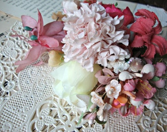 Antique Vintage Velvet Millinery Flowers Posy - #28