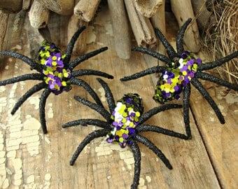 Set of 3 - Handmade Purple and Bright Green Glitter Halloween Spiders