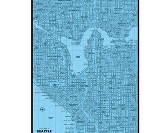 SEATTLE Map 6E- Handmade Leather Wall Hanging - Various Colors