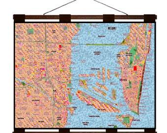 MIAMI Map 7E- Handmade Leather Wall Hanging - Travel Art