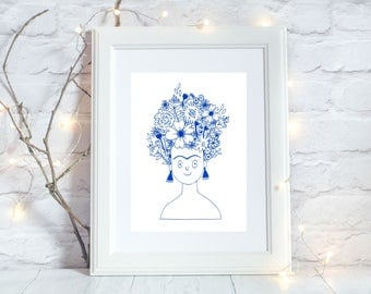 Frida Kahlo Limited Edition Screen Print, Blue