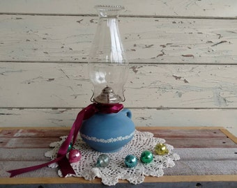 Antique Blue Glass + Floral Oil Lamp With Matching Fluted Shade - Vintage Bedside Light, Home Decor, Whimsical Lights, Vintage Bedside Light