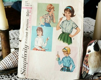 Retro Girls Blouse Pattern Size 8 - Mid Century All-Season Printed Paper Pattern by Simplicity, Kids Clothing Pattern, Long + Short Sleeves