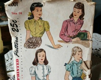 Vintage Classic Teen Blouse Pattern by Simplicity - Antique Classy Shirt + Top Design, Preppy Shirt Pattern, Sew Your Clothes, Needle Art
