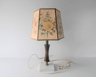 Flower Lamp Shade, Cottage Chic English Garden, Small Pastel Hexagon for Summer House or Sun Room, Clip On