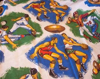 Vintage Fabric, Heavy Cotten Linen, Vintage Sports Athletes