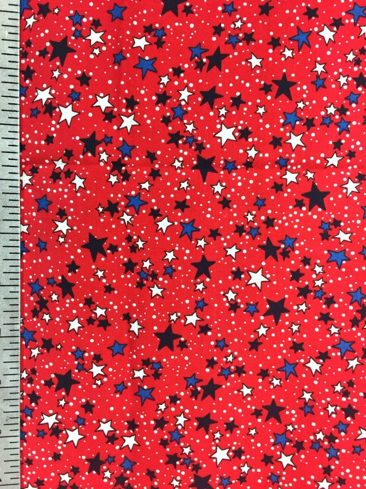 Red white and blue star print fabric 100 cotton joann for Star fabric australia