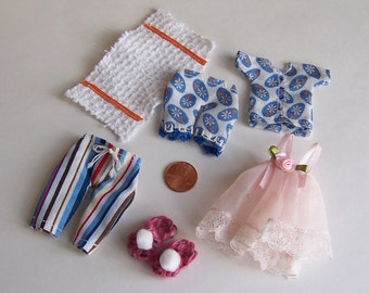 Miniature Dollhouse Clothes 1:12 Scale Lot of 6 Items Doll House Miniature Accessories Bedroom or Bathroom Display Filler Hand Made