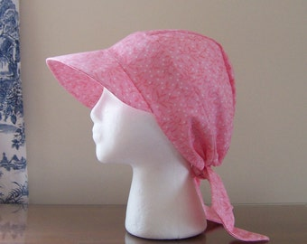 Baseball Style Chemo Cap with Ties in Pink Cotton for Women, Easy to Wear, Soft and Comfortable, Ready to Ship, Cancer Patient Gift