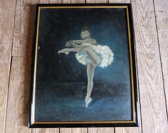 Vintage French signed oil painting w ballerina on board European art ballet ballerina in tutu dress painting, gift for ballerinas dancer