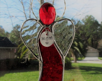 Scarlet Red English Muffle Stained Glass Angel Ornament/Suncatcher/Gift Tag - Personalized Hand Stamped Tags now Available - New Style