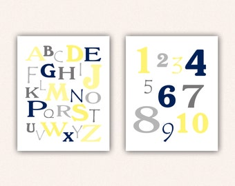 Alphabet and Numbers Print Set - Navy Light Yellow and Gray ABC's and 123's for Kid's Bedroom - Custom Nursery Art (5003)