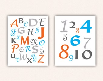 Alphabet and Numbers Print Set - Turquoise and Orange ABC's and 123's for Kid's Bedroom - Custom Nursery Art (5004)