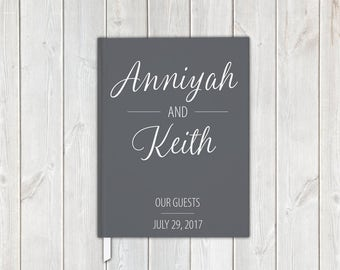Dark Gray and White Scipt Wedding Guest Book with Bride and Groom, Date - Personalized Traditional Guestbook, Journal, Album