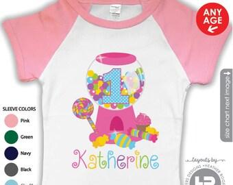 Candy Birthday Shirt or bodysuit - Candy Shoppe Birthday Shirt - First Birthday Shirt - Birthday Girl Shirt - Pink Raglan tshirt