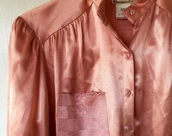 Vintage Gunnies Satin Blouse Powder pink