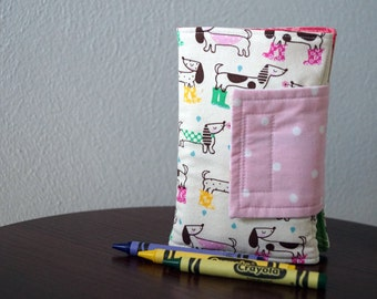 Crayon Organizer - Dachshunds - Dogs - Crayon Wallet - Crayon Roll - Toddler Girl Gift Idea