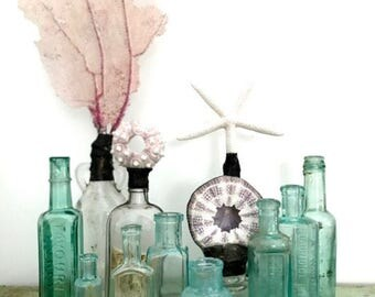 Vintage apothecary / medical Bottles - set of 8