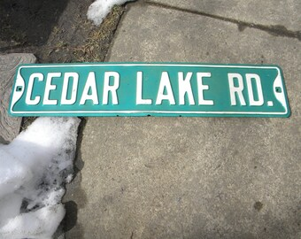 good shape vintage 1960s or so embossed pressed metal CEDAR lake rd street SIGN from i think BLAIRSTOWN nj new jersey