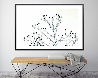 Nature prints MINIMALIST, Large Canvas Print, Giclee Print up to 40X60, huge wall decor, tree print, black and white