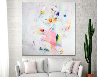"""Canvas art White painting Large Abstract Painting with pink 36x36 Original painting fun modern painting """"Resetting 02"""""""