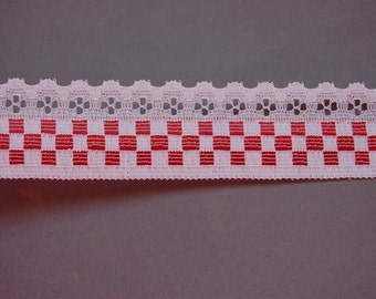 Red Checkered Lace Trim