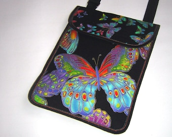 Small Sling Bag fits cell phone & eyeglass Small Crossbody Bag gadget cover Passport Purse small travel pack Black Colorful with butterflies
