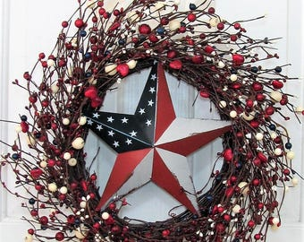 Patriotic Wreaths - Red Heart & Berry Wreath - Patriotic Front Door Wreath - Pip Berry Wreaths - Memorial Day Home Decor - Fourth of July