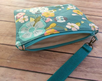 Floral Wristlet|Clutch Bag|Teal Waxed Canvas Clutch|Floral Fabric|Clutch Purse|Wristlet|Evening Purse|Handbag|Canvas