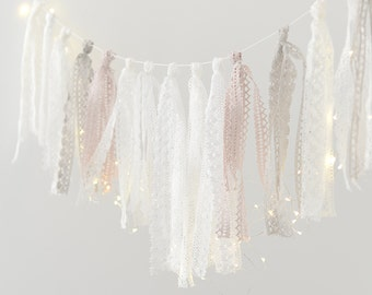 Crochet  ribbon Tassel Garland Banner - fabric garland/  Nursery Birthday Baptism Children party Decor Photo Prop wedding backdrop