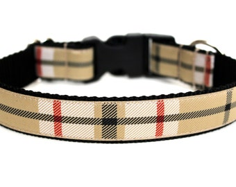 "Plaid Dog Collar 1"" Winter Dog Collar SIZE LARGE"