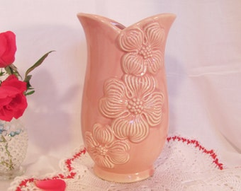 Pink Pottery Vase with Dogwood Flowers Vintage