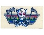 Vintage 80's RAINBOW FACTORY Stickers ~ I Love Heavy METAL Music Metallic Silver Skull Crossbones
