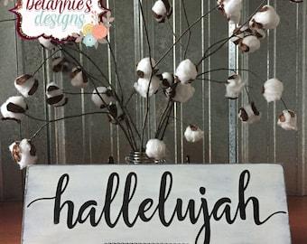 "Hallelujah Wood Sign~ Decor~ 16"" x 5.5"" Wall Art~ Hand Painted"
