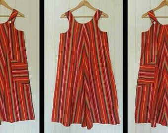Vintage 70s Red Pinafore Dress/ 70s Stripe Dress/ 70s Peasant Dress/ 70s Hippy Dress/ 70s Boho Dress/ 70s Maxi Dress/ 70s Red Dress